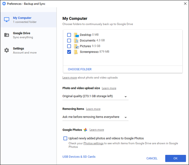 backup and sync google drive on pc