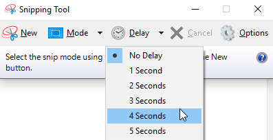 screenshot delay on snipping tool